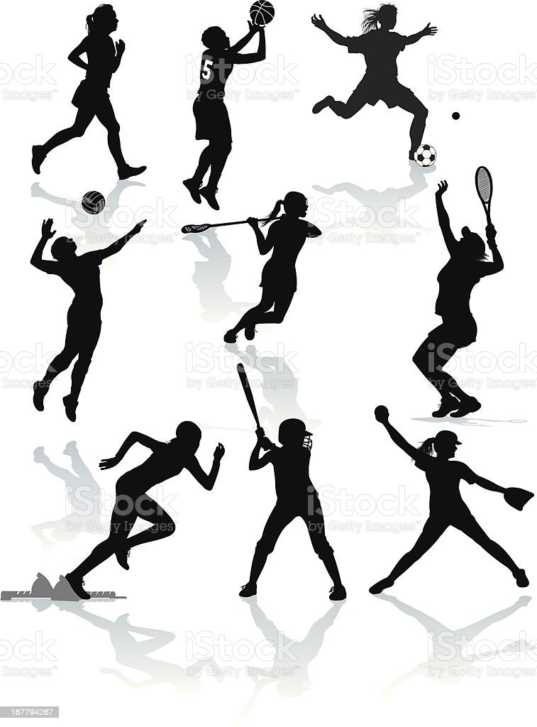Graphic silhouette illustrations of female sports athletes. Softball,...