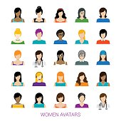 Vector illustration of the women avatar collection.