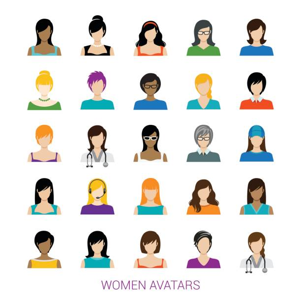 Female Avatar Collection vector art illustration