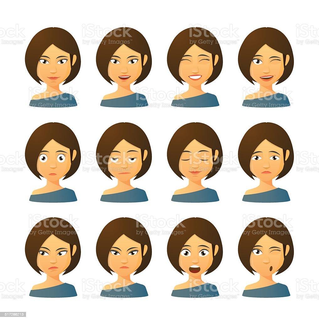 Female avatar expression set vector art illustration
