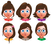 Female avatar vector characters. Set of teenager girls head with different hairstyle and cute faces isolated in white background. Vector illustration.
