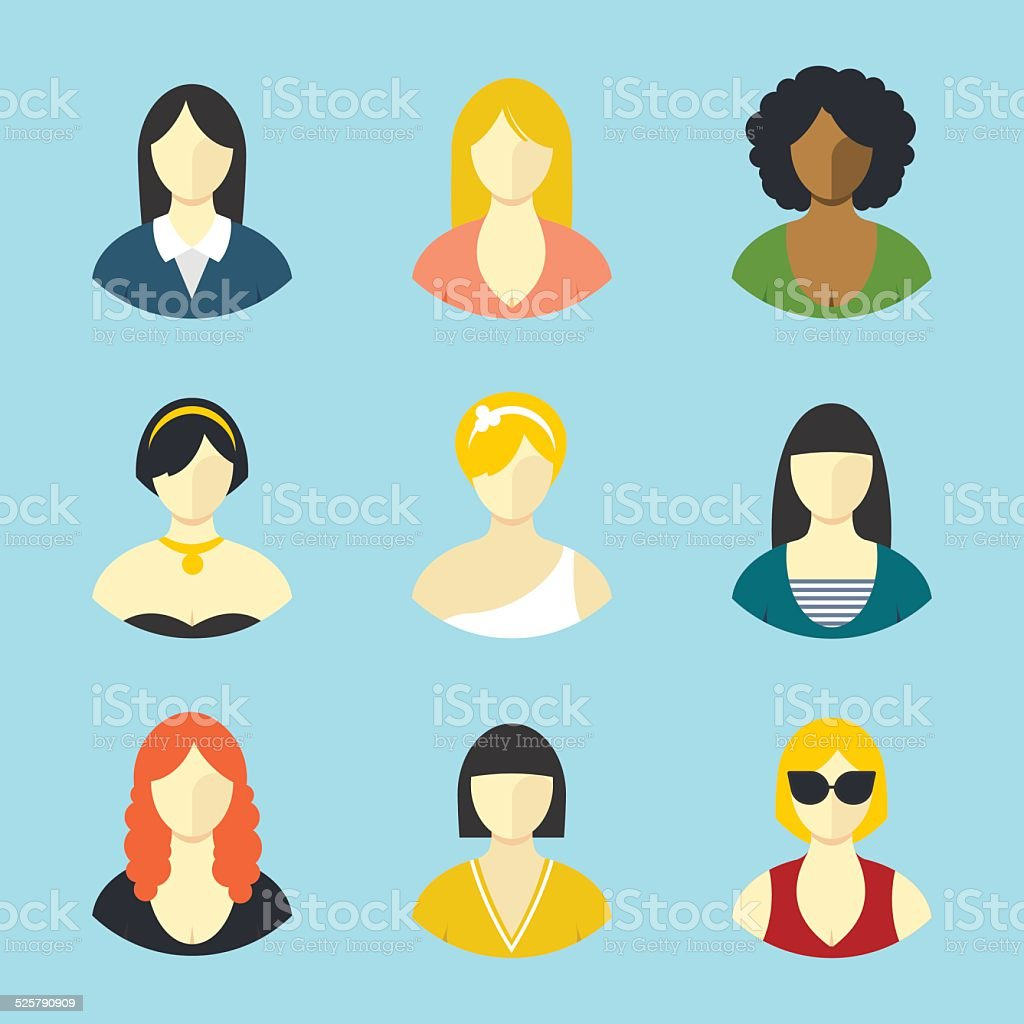 Female avatars. Flat design vector icons set vector art illustration