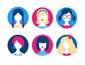 Female avatars. Vector set.