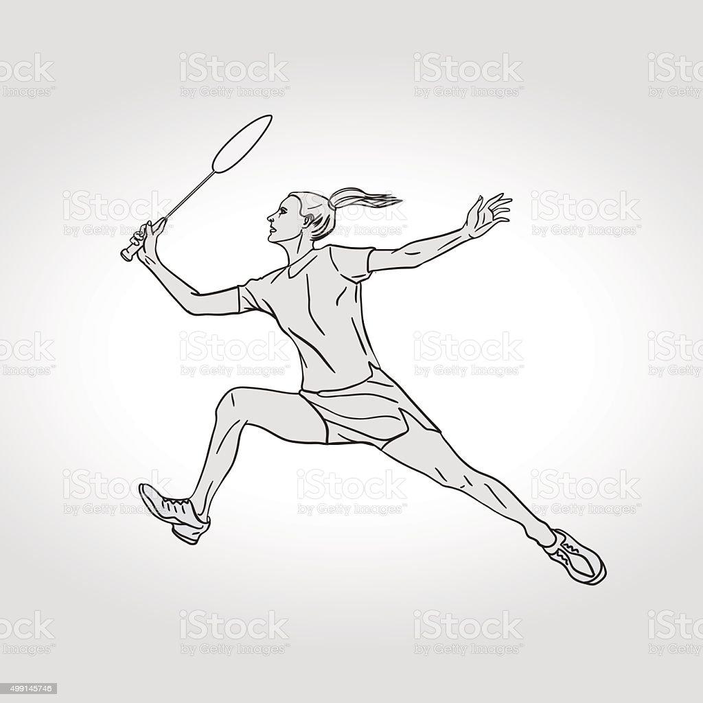 Female Badminton player. Hand drawn illustration vector art illustration