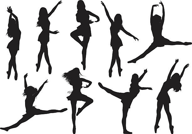 Female ballet dancing vector art illustration
