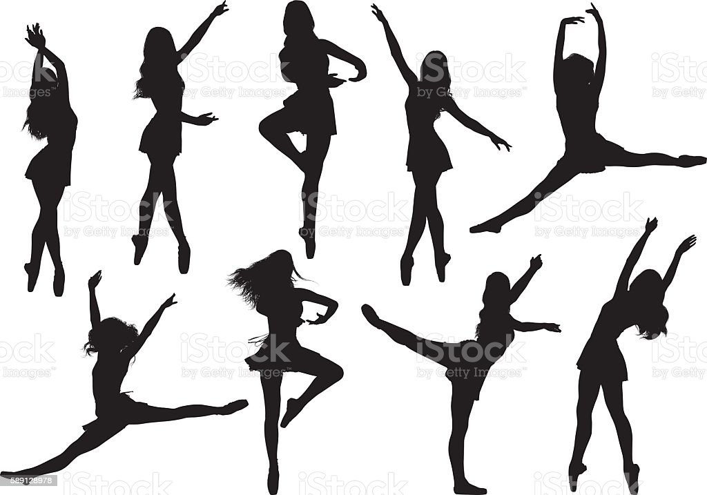 Female ballet dancing vector art illustration