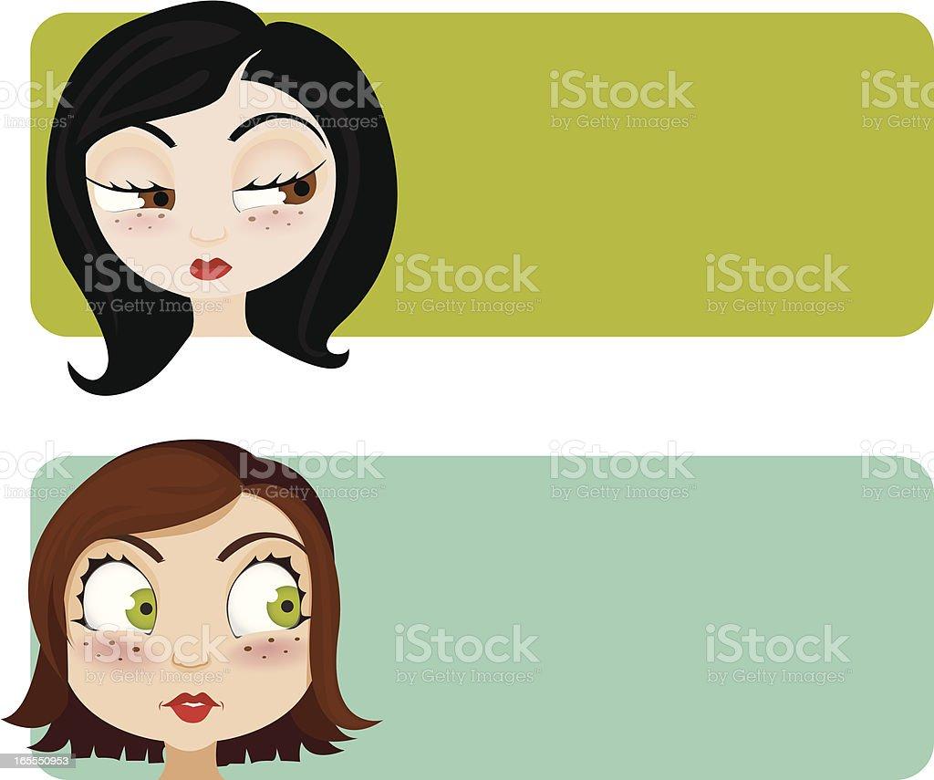 female banners vector art illustration