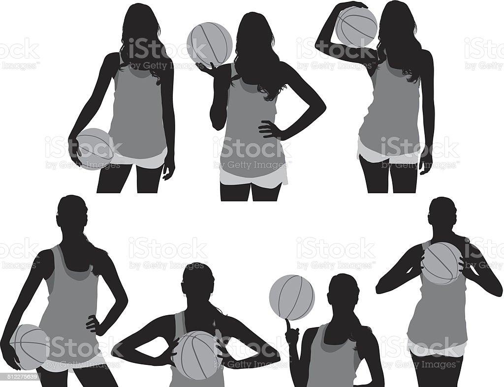 Female basketball player vector art illustration