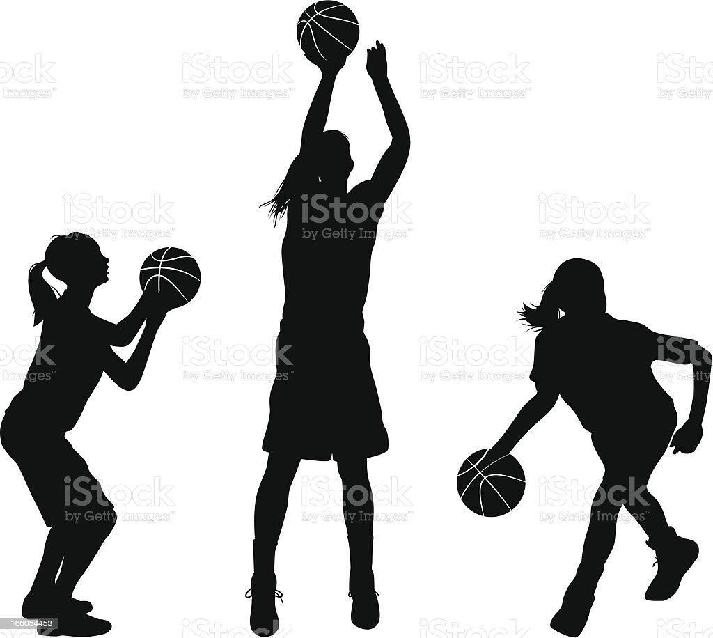 royalty free girls basketball clip art vector images rh istockphoto com Female Basketball Player Vector Basketball Drawings