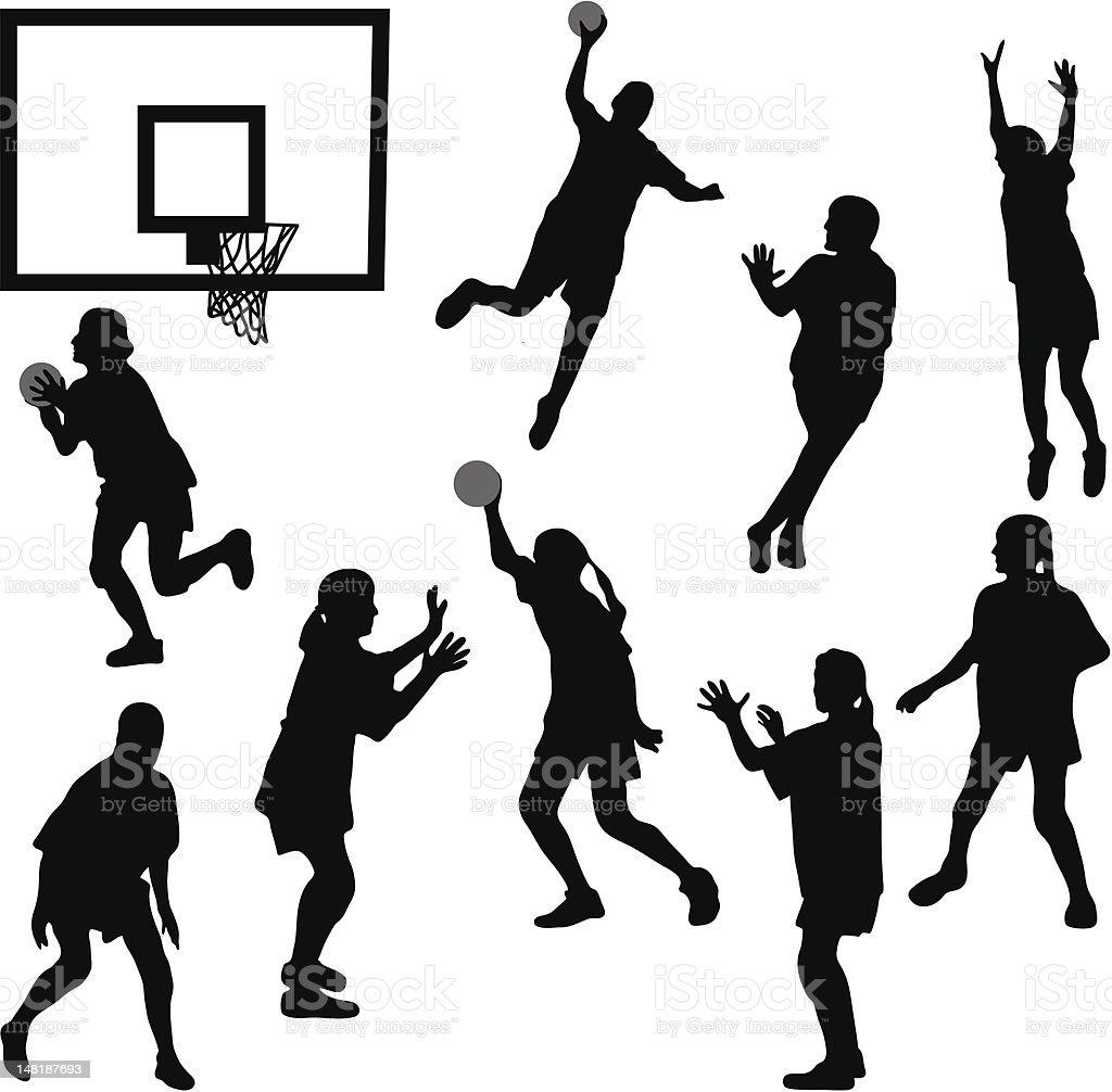 女子バスケットボールシルエット - あこがれのベクターアート素材や画像