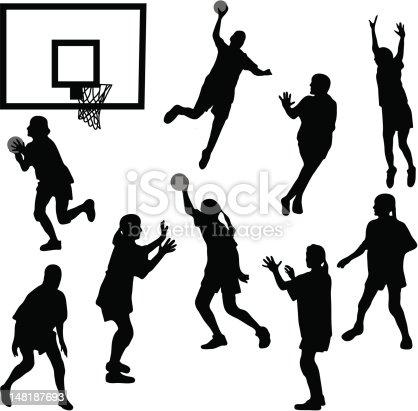 Female basketball silhouettes
