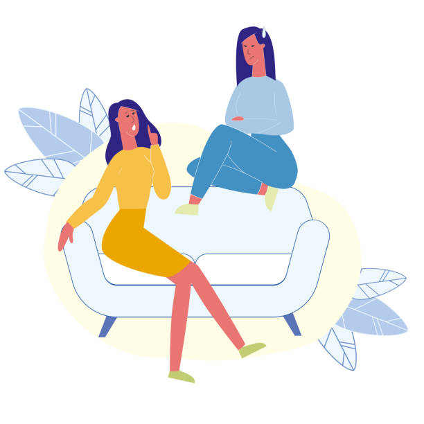 Female Best Friends Talking Flat Illustration Female Best Friends Talking Flat Illustration. Girlfriends Chatting, Spending Time Together. Nervous Sisters Having Conversation, Arguing Cartoon Vector Characters. Girlfriends Gossiping children only stock illustrations