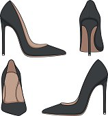 Female black classic shoes with heels. Set of vector color illustrations.