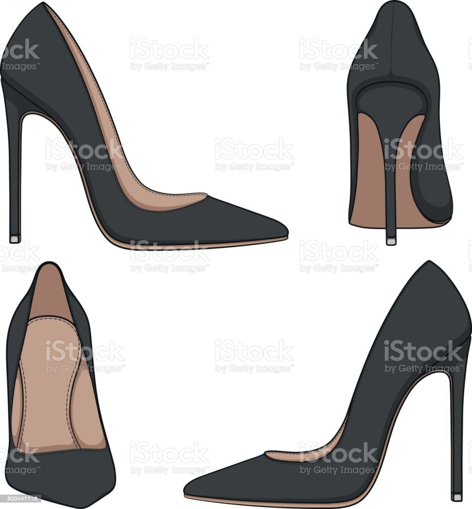Female black classic shoes with heels. Set of vector color illustrations. vector art illustration