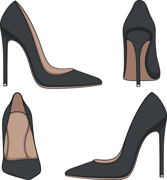 female black classic shoes with heels. set of vector color illustrations. - wysokie obcasy stock illustrations