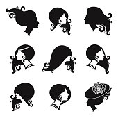 Female black silhouette set. Fashion and beauty hair styles illustration