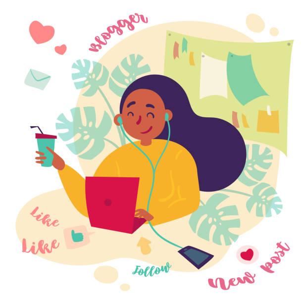 ilustrações de stock, clip art, desenhos animados e ícones de female blogger, freelance writer works with laptop - girl study home laptop front