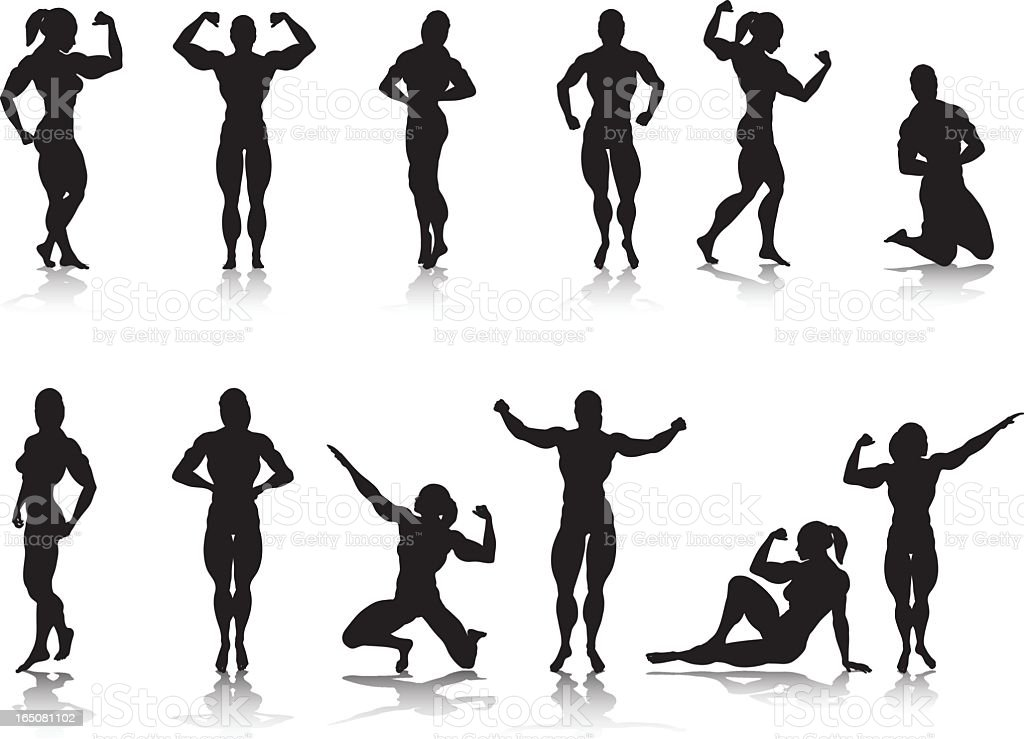 Female Bodybuilder Silhouette Collection vector art illustration
