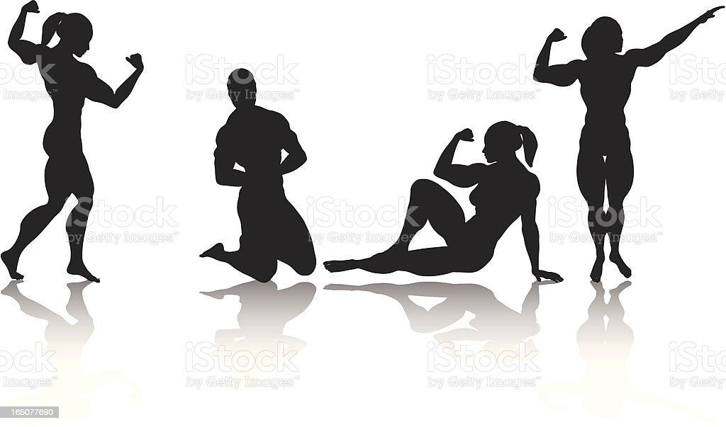 Female Bodybuilder vector art illustration
