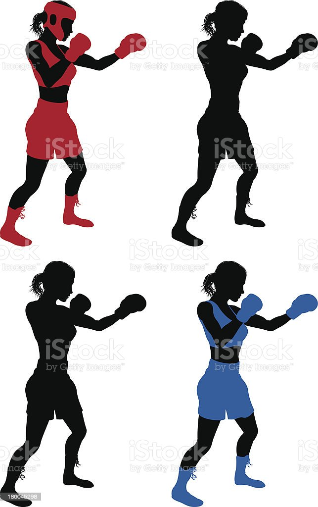 雌ボクサーボクシング ベクターアートイラスト