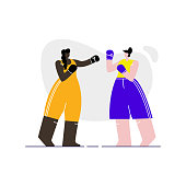 Female Boxers Sparring Flat Vector Illustration. Women in Sportswear and Gloves Cartoon Characters. Young Athletes, Professional Fighters. Boxing Match, Competition. Gym Workout, Training Exercise