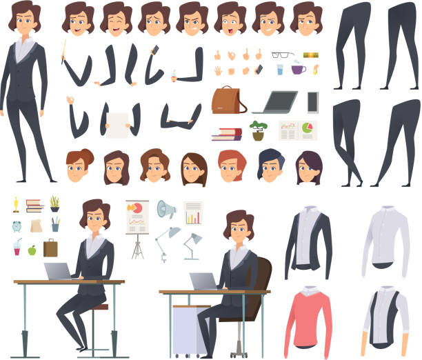 female business animation. director office manager woman body parts clothes and business wardrobe items vector character creation kit - grupa przedmiotów stock illustrations