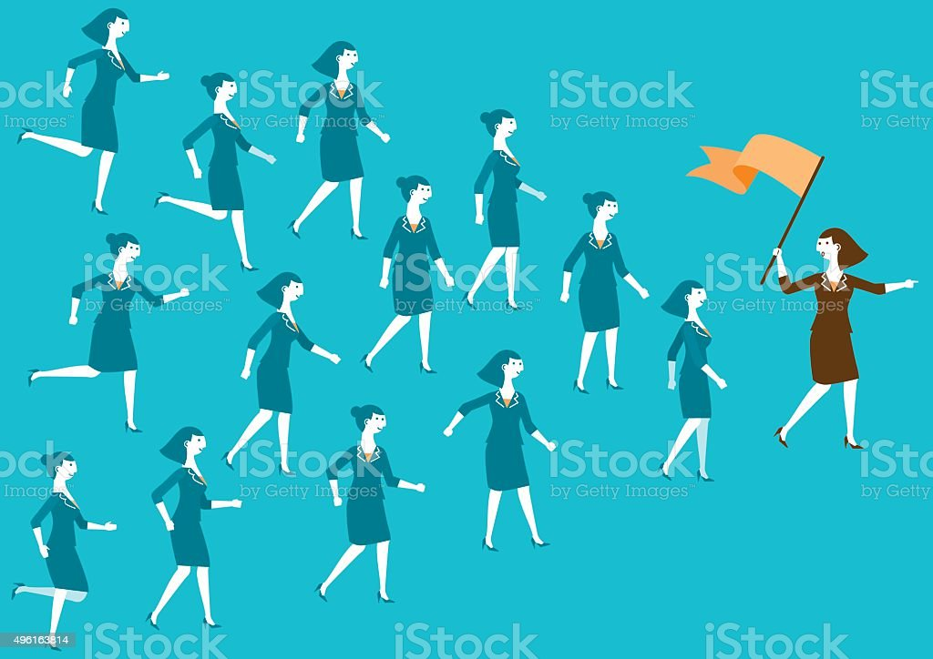 Female Business Team and Leader (Flag) | New Business Concept vector art illustration