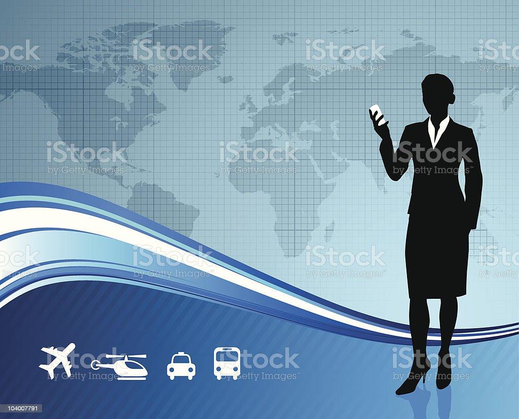 Female Business traveler on global communication background royalty-free stock vector art