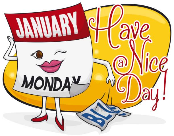 stockillustraties, clipart, cartoons en iconen met vrouwelijke kalender met een goede dag tijdens blauwe maandag - blue monday