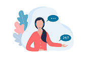 Female call center operator. A woman with a wireless headset answers questions from customers and users. Technical support, work 24/7. Vector flat illustration on a white background.