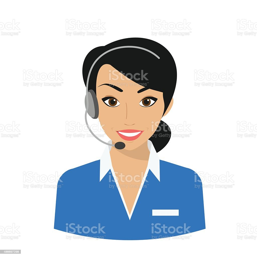 Mujer de operador de centro de llamada - ilustración de arte vectorial
