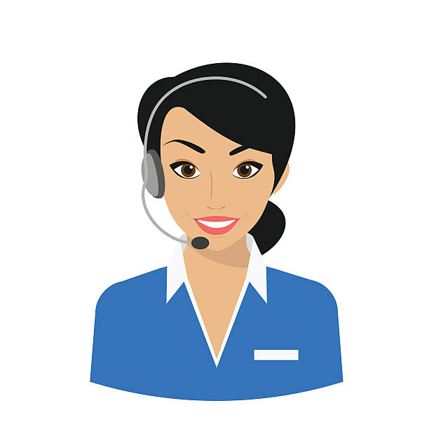 female call centre operator - receptionist stock illustrations, clip art, cartoons, & icons