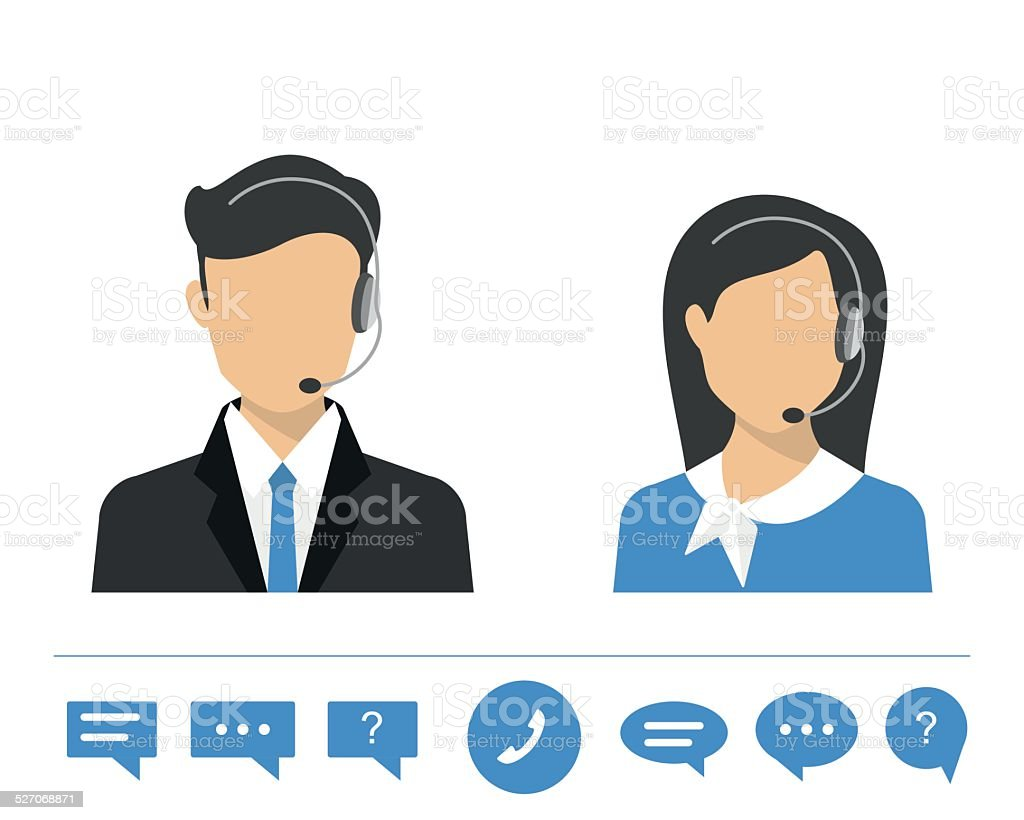 Female call centre operator vector art illustration