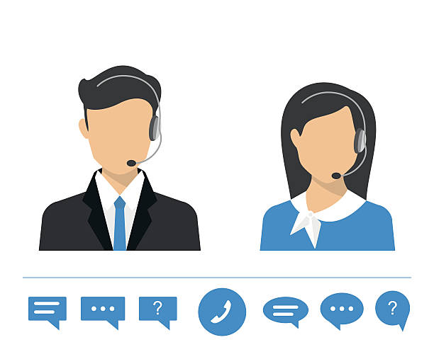 Female call centre operator Female call centre operator with headset. Flat moderm style hands free device stock illustrations