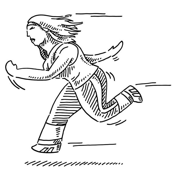 Female Cartoon Runner Drawing Hand-drawn vector drawing of a Female Cartoon Runner. Black-and-White sketch on a transparent background (.eps-file). Included files are EPS (v10) and Hi-Res JPG. running stock illustrations