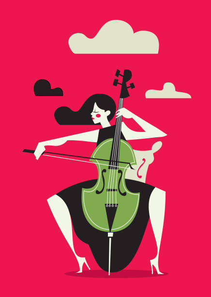 Female Cello Player - illustrazione arte vettoriale