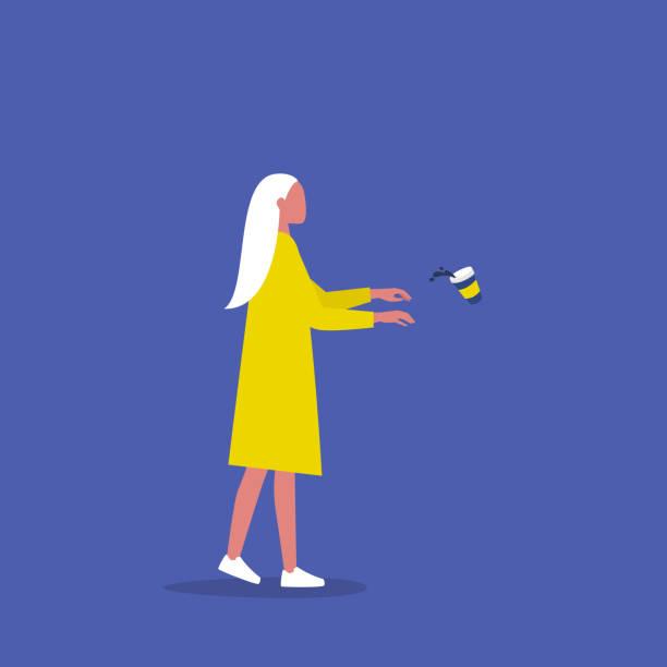 bildbanksillustrationer, clip art samt tecknat material och ikoner med kvinnlig karaktär beroende av kaffe. begreppsmässig illustration. zombie promenad. ta med. millennial livsstil. platt redigerbar vektor illustration, clip art - coffe with death