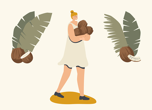 Female Character Carry Pile of Ripe Coconuts for Eating, Drinking Juice or Making Oil. Vegetarian Nutrition Healthy Food
