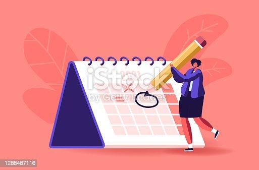 istock Female Character Circle Date on Huge Calendar Planning Important Matter. Time Management, Work Organization, Reminder 1288487116