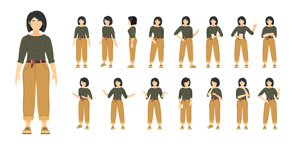 Female character constructor with various views