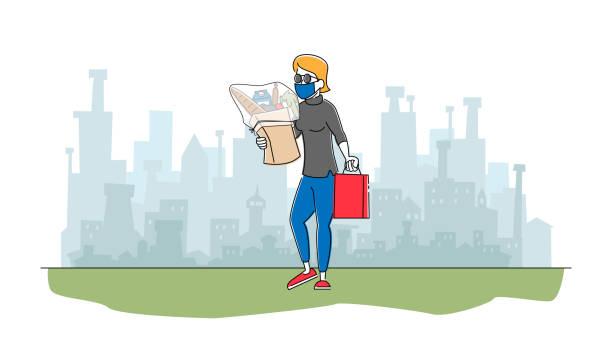 stockillustraties, clipart, cartoons en iconen met vrouwelijk karakter in beschermend masker dat van opslag met kruidenierswarenproducten in document zak loopt. luchtvervuiling, coronavirus - baby dirty