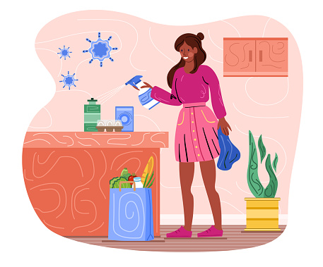 Female character is disinfecting groceries from the store at home