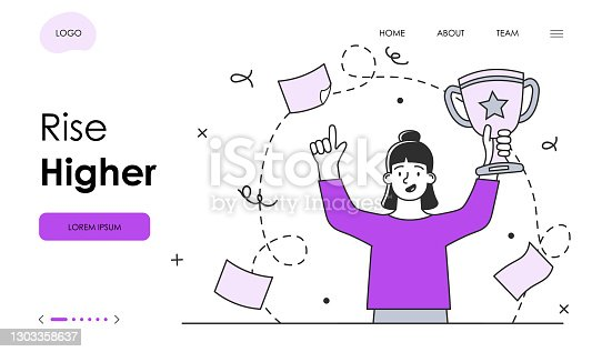 istock Female character is motivating to rise higher in business 1303358637