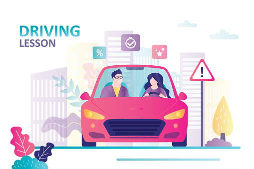 Female character learning to drive. Instructor sitting in car next to beginner driver.Concept of driving school, education and drive lesson