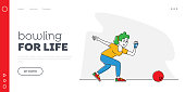 Female Character Playing Bowling Landing Page Template. Leisure, Active Lifestyle. Woman Wear Glove and Shoes Throw Ball to Hit Pins.Spend Time in Bowling Club, Sparetime. Linear Vector Illustration