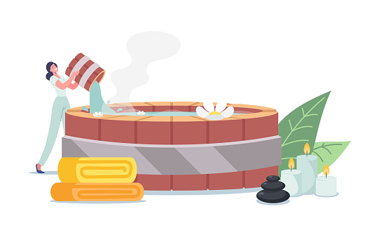 Female Character Pouring Hot Water into Traditional Japanese Bath Onsen with Flowers, Stones and Candles and Towel