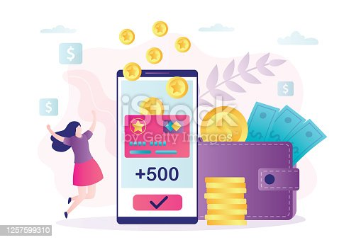 istock Female character rejoices in new accrued bonuses. Loyalty program, woman customer get rewards. Earn points concept. 1257599310
