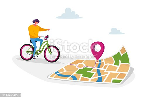 istock Female Character Riding Bike Use Map Smartphone Application to Finding Correct Way in Big City. Bicycle Gps Geolocation 1266684279