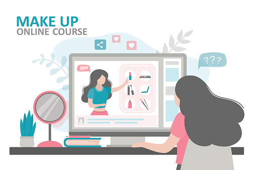 Female character takes online makeup courses. Cosmetologist talks about purpose of various cosmetic products