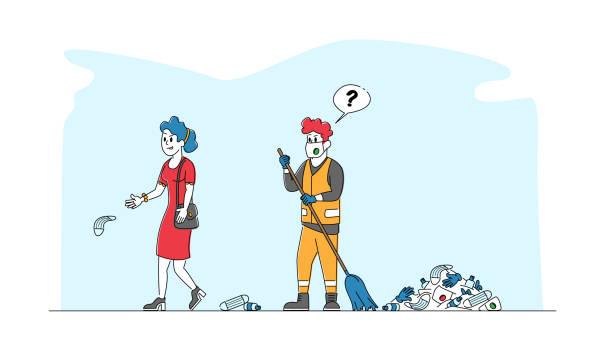 illustrazioni stock, clip art, cartoni animati e icone di tendenza di il personaggio femminile getta rifiuti covid per strada. donna che lancia maschera medica usata direttamente sulla strada ignorando bidello - rabbia emozione negativa